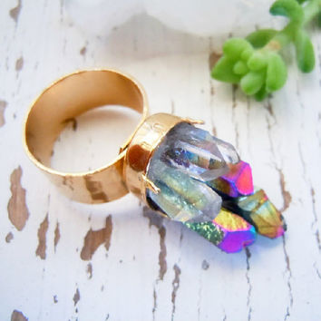Raw Crystal Mineral Ring - Rainbow and Clear Crystal Quartz Points - Adjustable Ring