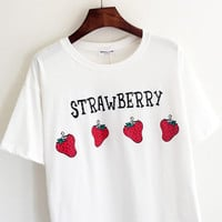 "White ""Strawberry"" Print Short Sleeve Shirt"