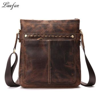 Men's crazy horse leather shoulder bag cow leather messenger bag for iPad Durable Real leather casual bag casual satchel