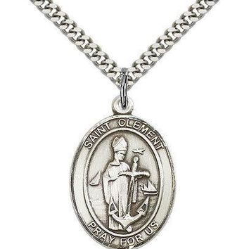 "Saint Clement Medal For Men - .925 Sterling Silver Necklace On 24"" Chain - 30... 617759200058"
