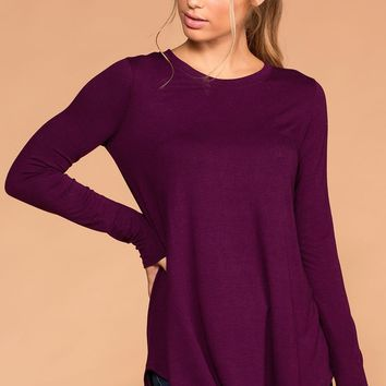 Krysha Plum Round Neck Long Sleeve Top