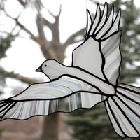 White Dove Stained Glass Bird Large Suncatcher