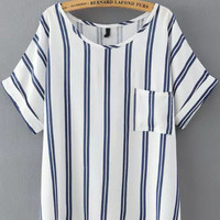 Blue Striped Pockets Short Sleeve T-Shirt
