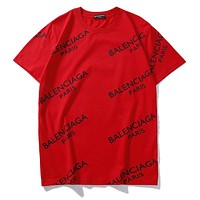 Balenciaga Fashion Women Men Casual Shirt Top Tee Red