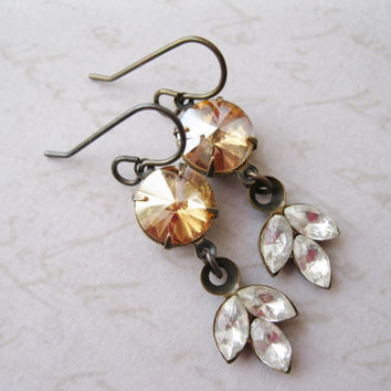 Golden Leaf Earrings. Vintage Style Rhinestone Dangles, Light Topaz, Antiqued Brass, Old Hollywood Glam,