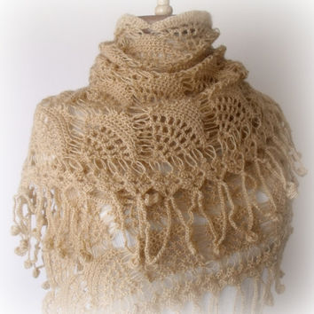 Mohair Seashell Triangle Shawl -EXPRESS SHIPPING-Ready For Shipping
