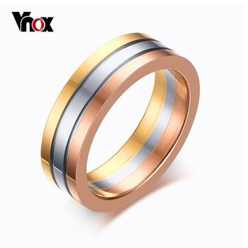 Vnox Cute Women's Wedding Rings 3 Colors Stainless Steel 3 Rows Band Rings for Women Jewelry Fashion Spike Rings 6MM