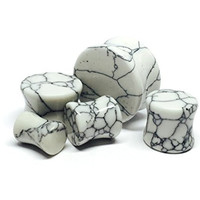 Howlite Stone Plugs - 6g (4mm) - Sold As a Pair