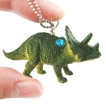 Triceratops Dinosaur Shaped Pendant Necklace in Green | Animal Jewelry
