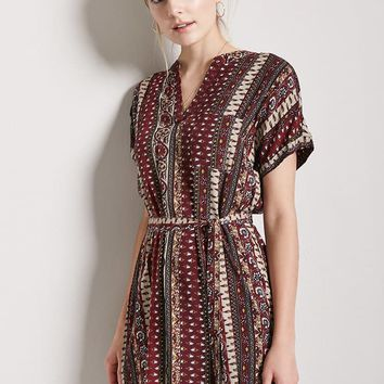Belted Ornate Print Shift Dress