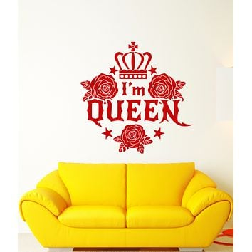 Vinyl Wall Decal Word Logo I'm Queen Crown Girl's Room Stickers (3276ig)
