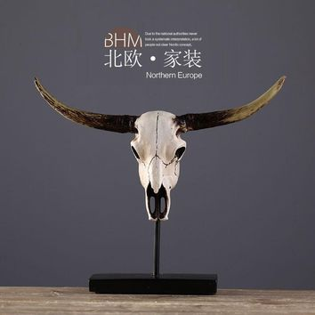 Skull Skulls Halloween Fall Europe Vintage Cow Head  Natural Resin Animal Ornaments Desk Decor Goat Head  Showroom Office Home Decoration Calavera