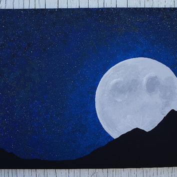 Full Moon Night Sky Painting, Moon and from Mae2Designs