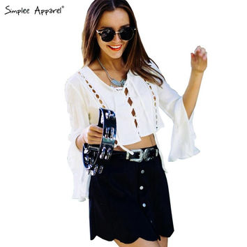 Simplee Apparel Elegant flare sleeve lace up blouse shirt Women tops Autumn white blouse Hollow out sexy crop top renda blusas