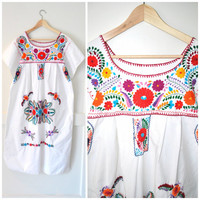 boho OAXACAN festival dress / 80s vintage FLORAL embroidery MEXICAN folk wedding dress