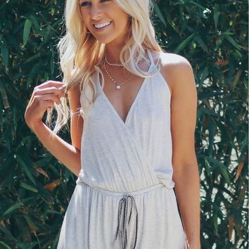 Ribbed Halter Romper Heather Grey
