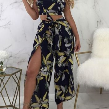 Black Floral Cut Out 2-in-1 Drawstring Waist Fashion Long Jumpsuit