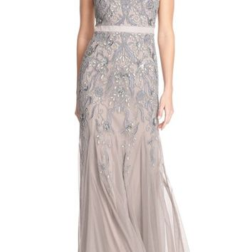 Adrianna Papell Embellished Mesh Gown (Regular & Petite) | Nordstrom