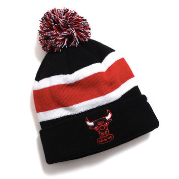Chicago Bulls Breakaway Cuff Knit Pom Beanie Black