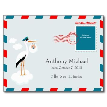 airmail envelope design baby boy announcement V2 Post Cards
