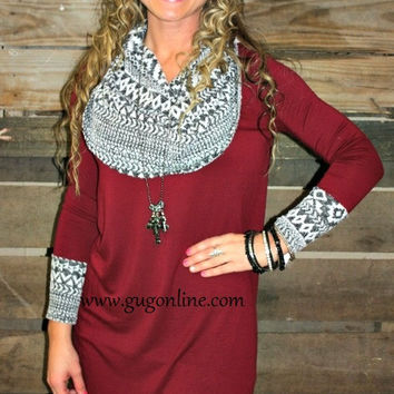 Even the Score Maroon and Black and White Aztec Cowl Neck Tunic Top