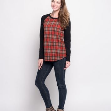 Plaid Raglan Top