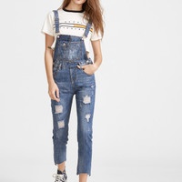 Blue Ripped Raw Hem Overall Jeans