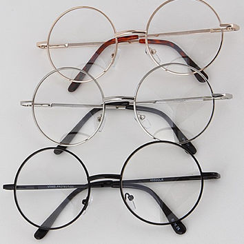 Circle Frame Clear Glasses ( + Colors )