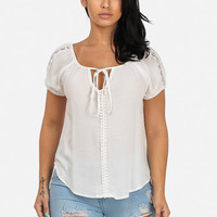 Peasant Top Tie Front (White)