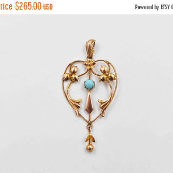 ON SALE Antique Edwardian 9CT Gold Heart Lavalier Pendant, 9K Yellow Gold, Large, Blue Turquoise, Flowers, Floral, Openwork, Lovely! #b777