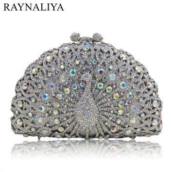2017 New Arrival Sequined Rhinestone Peacock Clutch Evening Party Bags Delicately Hand Made Crystal Minaudiere Smyzh-e0231