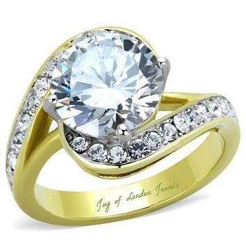 A Perfect 14K Yellow Gold 3CT Round Cut Russian Lab Diamond Engagement Ring