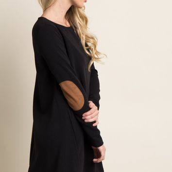 Black-Suede-Elbow-Patch-Shift-Dress