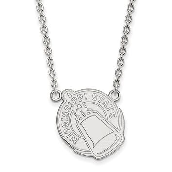 NCAA 10k White Gold Mississippi State Large Pendant Necklace