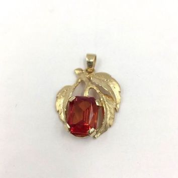 Vintage 14k Yellow Gold Natural Padparadscha Sapphire  Pendant 3.75ct