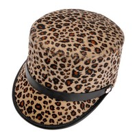 ZLYC Unisex Fashion Plaid Leopard Print Lint Hat Stylish Cap with PU Belt