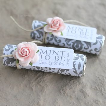 Blush wedding favors, mints in grey damask with pale pink roses