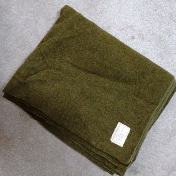 1942 Vintage Olive Green Wool Army Blanket - Made by The Leaksville Woolen Mills, Inc.