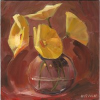 Mini Original Oil Floral Painting on Panel, Yellow Flowers In Oils