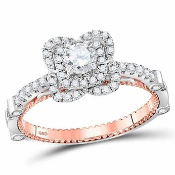 14kt Two-tone Gold Womens Round Diamond Solitaire Bridal Wedding Engagement Ring 3-4 Cttw