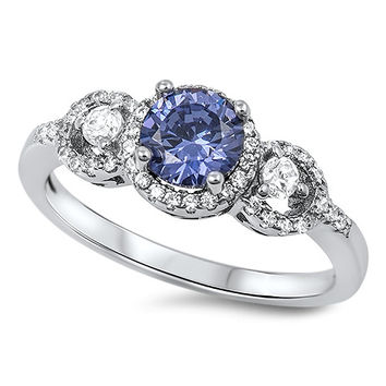 925 Sterling Silver CZ Classic Designer Halo Simulated Tanzanite Ring 8MM