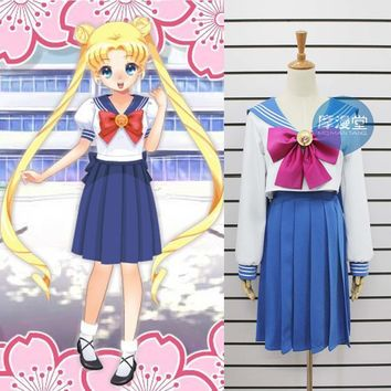New Sailor moon Crystal Cosplay Costume Custom Sailor Moon Halloween School Sailor Dress Uniform Free Shipping