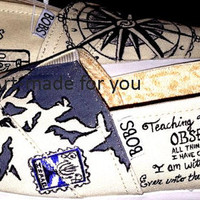Painted Compass-Passport-World Map Bobs/Toms- BOBS are INCLUDED in Price