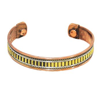 Healing Copper and Brass Magnetic Cuff Bracelet