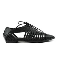 Kingston03 Black Pu Strappy Lace Up Cut Out Pointy Oxford Flat Women Shoes