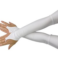 JustinCostume Arm Mitts Evening Long Moon Fingerless Opera Length Gloves Costume