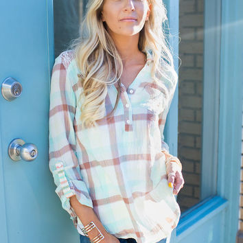 Everything About You Plaid Lace Top