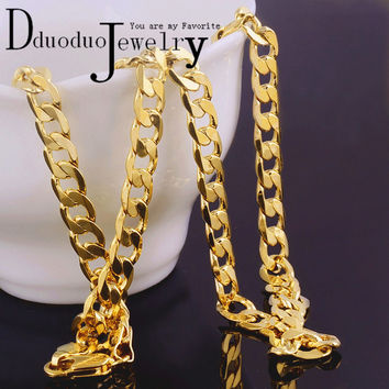 Free shipping  Real Men's 24k gold  plated Necklace Chain fashion wedding Jewelry 7mm*50cm N-16