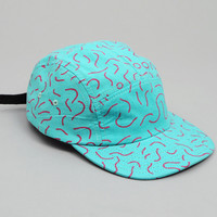 made on the moon - auto suggestion 5 panel hat turquoise fuchsia