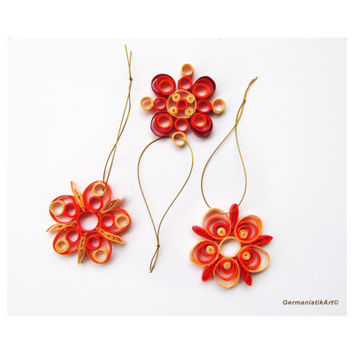 Snowflake Quilling Set of 3 Orange Nuanced Quilled Snowflakes, Christmas Decoration in Orange